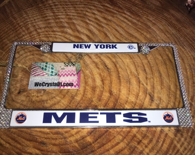 Mets License Crystal New York Sport on Silver Frame Sparkle Auto Bling Rhinestone Plate Frame with Swarovski Elements Made by WeCrystalIt