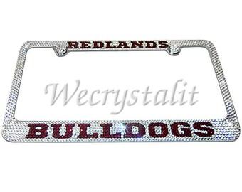Bulldog Crystal Sparkle Auto Bling Rhinestone  License Plate Frame with Swarovski Elements Made by WeCrystalIt