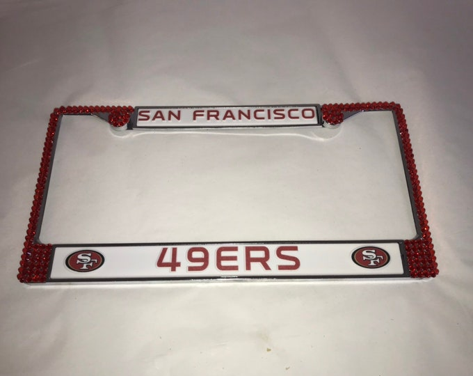 San Francisco 49ers License Crystal Sport Silver Frame Sparkle Auto Bling Rhinestone Plate Frame with Swarovski Elements Made by WeCrystalit