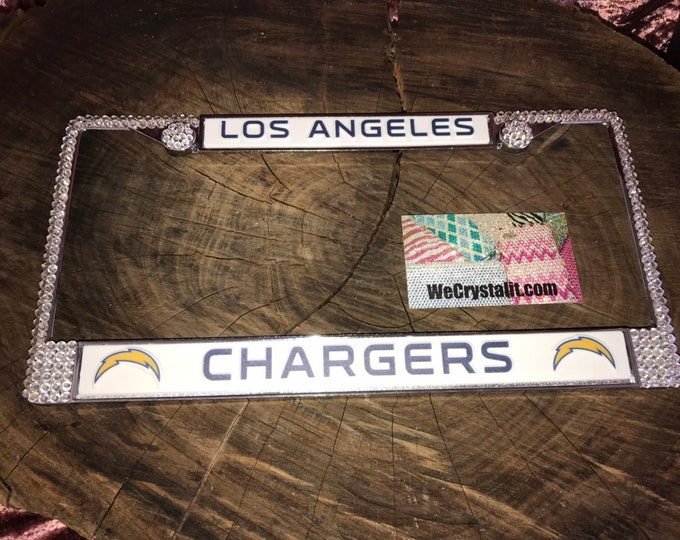 Los Angeles Chargers Football License Crystal Sport Silver Frame Sparkle Auto Bling Rhinestone Plate Frame with Swarovski Elements