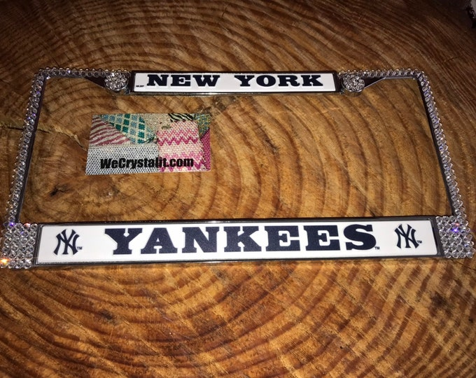 Yankees License Crystal Sport baseball Frame Sparkle Auto Bling Rhinestone Plate Frame with Swarovski Elements Made by WeCrystalIt