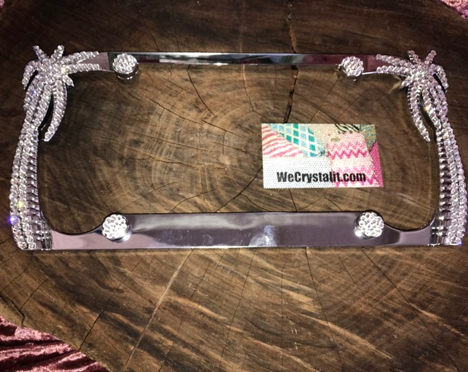 Only one 1 Clear Crystal Color Palm Tree Sides Crystal Sparkle Auto Bling Rhinestone License Plate Frame Made by WeCrystalIt
