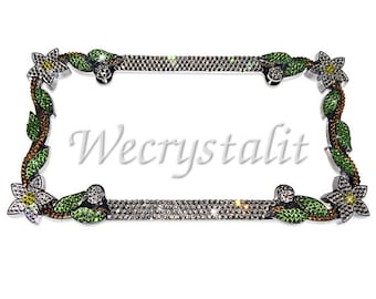 Clear Daisy hibiscus Flower Crystal Sparkle Auto Bling Rhinestone  License Plate Frame with Swarovski Elements Made by WeCrystalIt