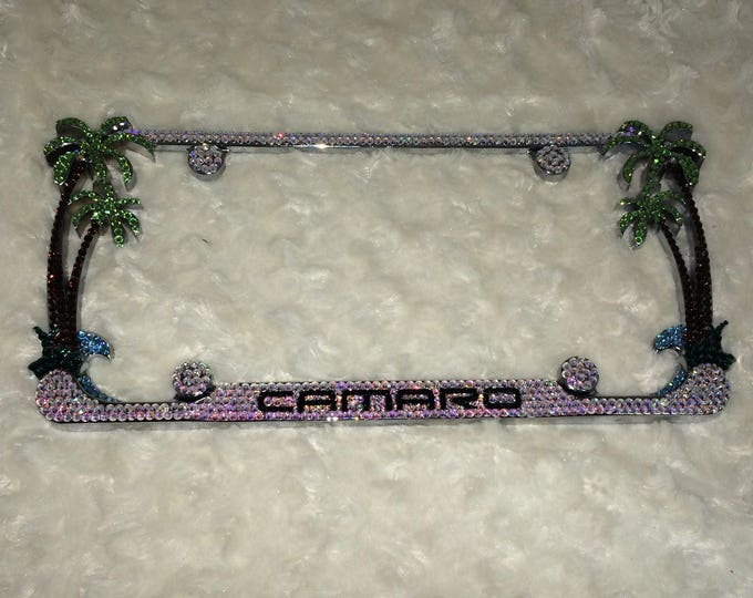 Camaro Palm Tree Crystal Sparkle Auto Bling Rhinestone  License Plate Frame with Swarovski Elements Made by WeCrystalIt