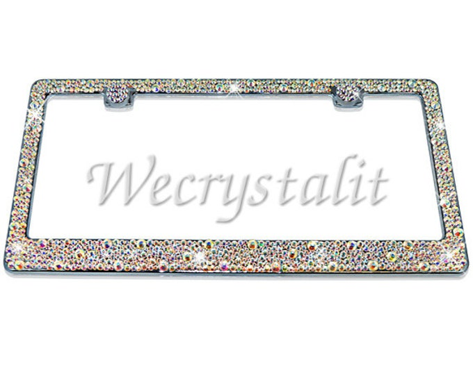 AB Bumpie Diamond on Silver Frame Crystal Sparkle Auto Bling Rhinestone  License Plate Frame with Swarovski Elements Made by WeCrystalIt