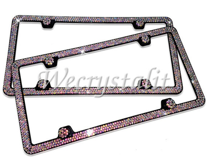 Set 2 AB Effect on Black Frame 3 Row Crystal Sparkle Auto Bling Rhinestone License Plate Frame with Swarovski Elements Made by WeCrystalIt