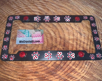 Dog Puppy Paws Red Crystal Sparkle Auto Bling Rhinestone License Plate Frame with Swarovski Elements Made by WeCrystalIt