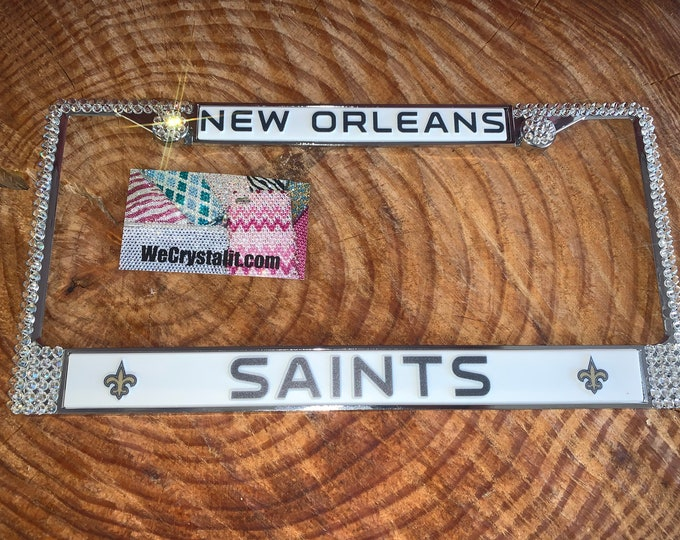 Saints License New Orleans Football Crystal Frame Sparkle Auto Bling Rhinestone Plate Frame with Swarovski Elements Made by WeCrystalIt