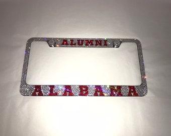 Alabama alumni Crystal Sparkle Auto Bling Rhinestone  License Plate Frame with Swarovski Elements Made by WeCrystalIt