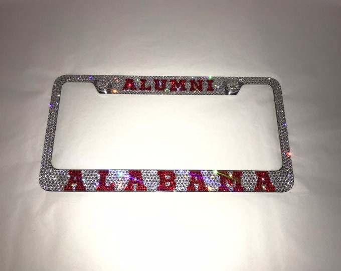 Alabama alumni Crystal Sparkle Auto Bling Rhinestone  License Plate Frame with Swarovski Elements Made by WeCrystalIt