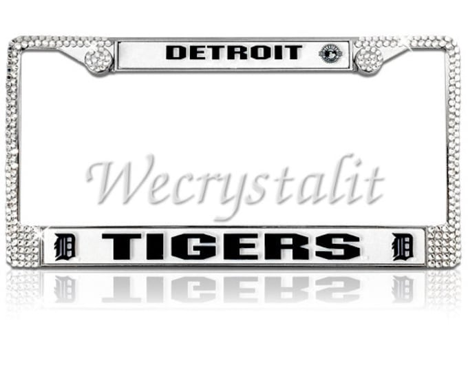 Tigers License Crystal Detroit Sport on Silver Frame Sparkle Auto Bling Rhinestone Plate Frame with Swarovski Element made by WeCrystalIt