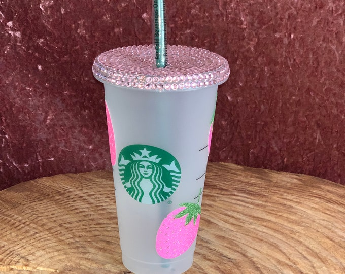 Starbucks Strawberry cup tumbler brand new never used with Glitter and  Swarovski crystals added