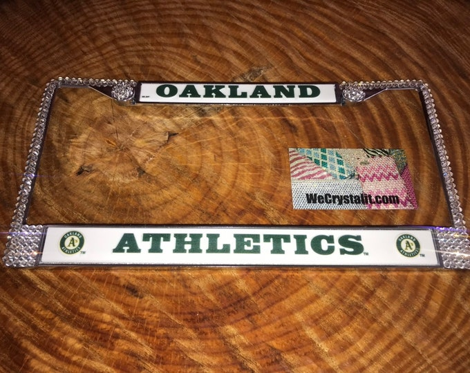 Oakland License Crystal Athletics Baseball Frame Sparkle Auto Bling Rhinestone Plate Frame with Swarovski Elements Made by WeCrystalIt