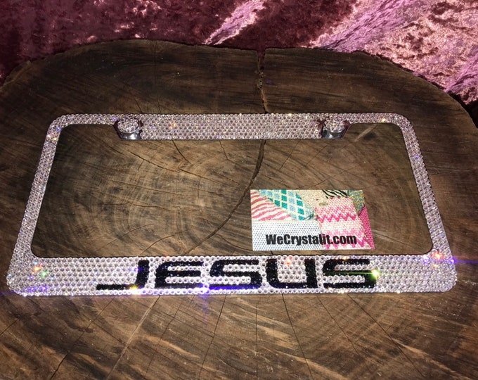 Jesus Crystal Sparkle Auto Bling Rhinestone  License Plate Frame with Swarovski Elements Made by WeCrystalIt