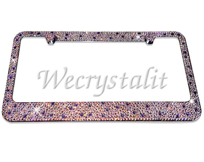 AB WITH AMETHYST Crystal Sparkle Auto Bling Rhinestone  License Plate Frame with Swarovski Elements Made by WeCrystalIt
