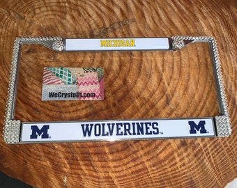 Michigan Wolverines Sport on Silver Frame Crystal Sparkle Auto Bling Rhinestone License Plate Frame with Swarovski Elements by WeCrys