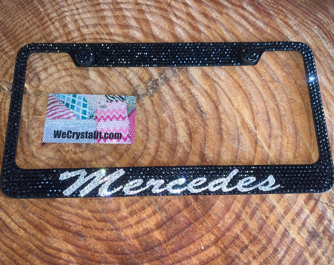 Mercedes Jet Black Crystal Sparkle Auto Bling Rhinestone  License Plate Frame with Swarovski Elements Made by WeCrystalIt