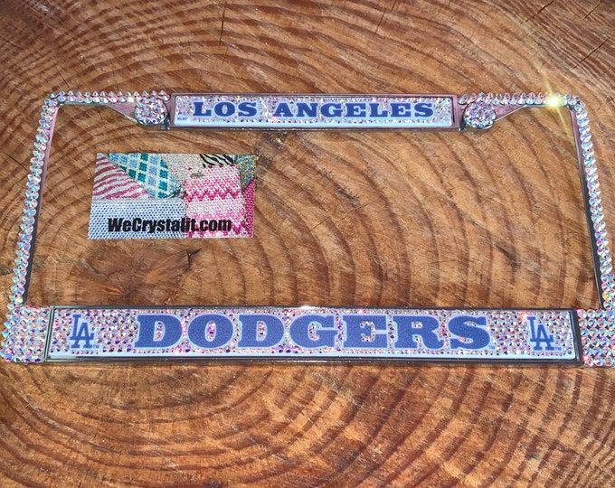 Los Angeles AB Dodgers License Crystal Sport baseball Frame Sparkle Auto Bling Rhinestone Plate Frame with Swarovski Elements Made WeCrys