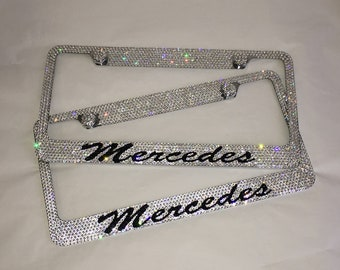 Mercedes set of 2  Crystal Sparkle Auto Bling Rhinestone  License Plate Frame with Swarovski Elements Made by WeCrystalIt