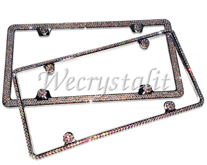 Set 2 AB on Silver Frame 1 & 3 Row Crystal Sparkle Auto Bling Rhinestone License Plate Frame with Swarovski Elements Made by WeCrystalIt