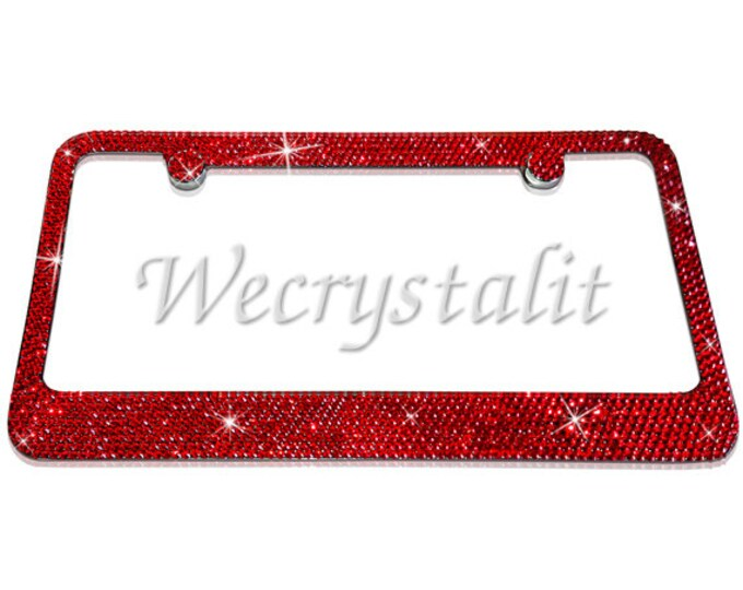 Red 8 Row  on Silver Swarovski Crystal Sparkle Auto Bling Rhinestone License Plate Frame Made with Swarovski Elements Made by WeCrystalIt