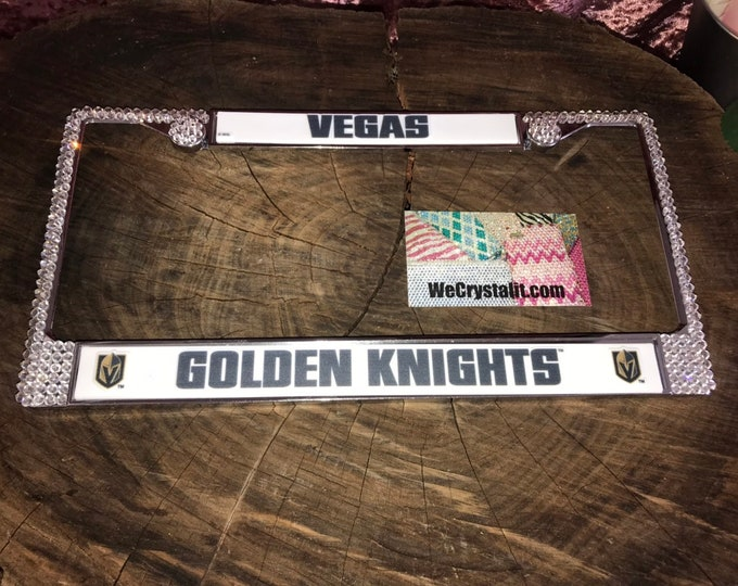 Golden Knights License Crystal Las Vegas Sport Silver Frame Sparkle Auto Bling Rhinestone Plate Frame with Swarovski Elements Made by WeCrys