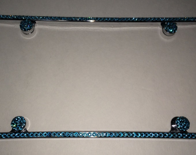 Aquamarine on Silver Frame 1 Row Crystal Sparkle Auto Bling Rhinestone License Plate Frame with Swarovski Elements Made by WeCrystalIt