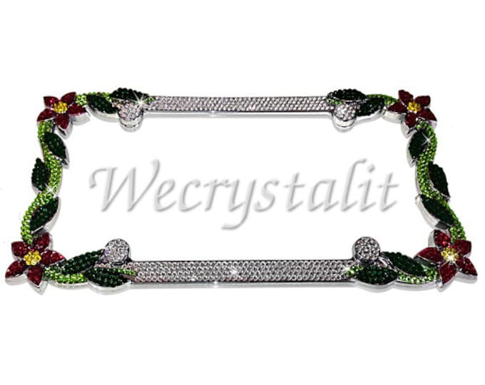 Red Daisy Flower Crystal Sparkle Auto Bling Rhinestone  License Plate Frame with Swarovski Elements Made by WeCrystalIt