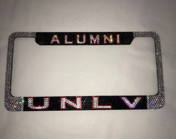 UNLV Alumni Crystal Sparkle Auto Bling Rhinestone  License Plate Frame with Swarovski Elements Made by WeCrystalIt
