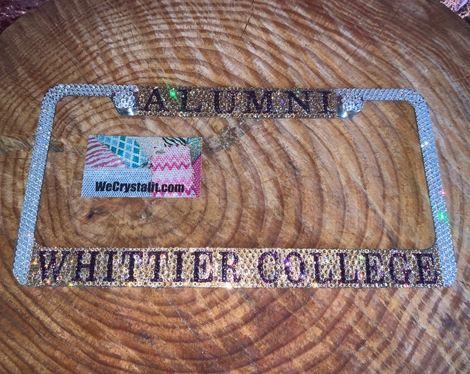 Whittier College Alumni Crystal Sparkle Auto Bling Rhinestone  License Plate Frame with Swarovski Elements Made by WeCrystalIt
