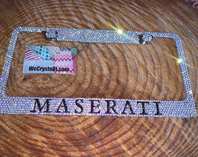 Maserati Crystal Sparkle Auto Bling Rhinestone  License Plate Frame with Swarovski Elements Made by WeCrystalIt