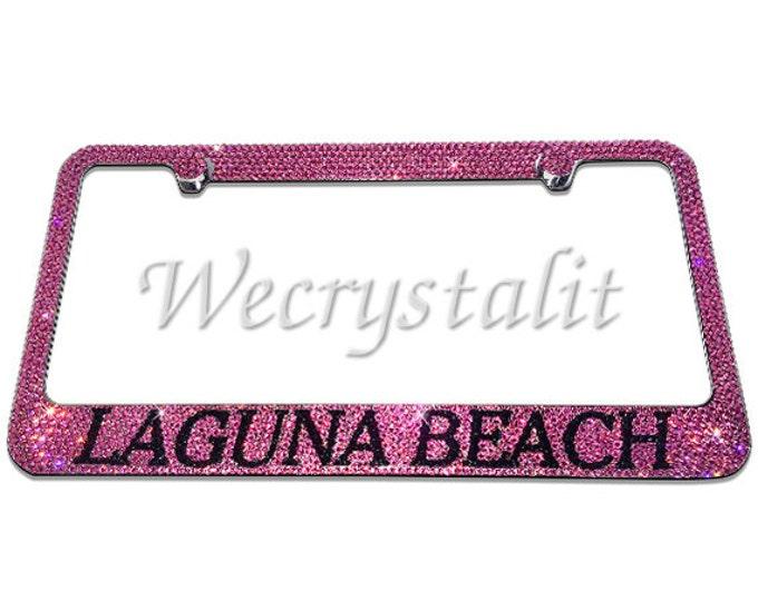 Laguna Beach on Silver Swarovski Crystal Sparkle Auto Bling Rhinestone License Plate Frame Made with Swarovski Elements Made by WeCrystalIt