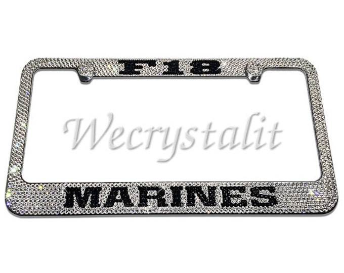 Marines Sparkle Auto Bling Rhinestone  License Plate Frame with Swarovski Elements Made by WeCrystalIt