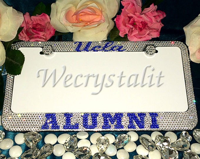 UCLA Alumni Crystal Sparkle Auto Bling Rhinestone License Plate Frame with Swarovski Elements Made by WeCrystalIt