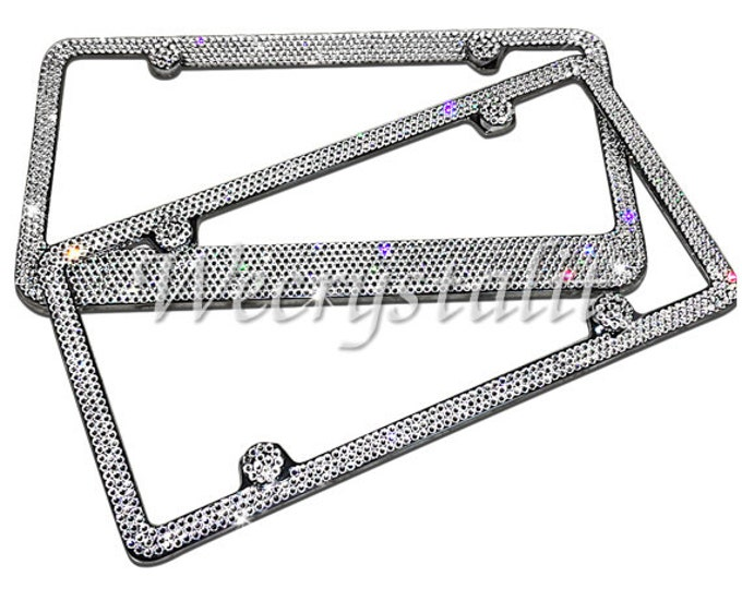 Set 2 Clear on Silver Frame 3 & 8 Row Crystal Sparkle Auto Bling Rhinestone License Plate Frame with Swarovski Elements Made by WeCrystalIt
