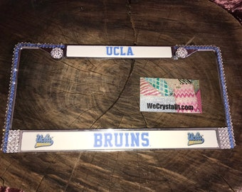 UCLA Bruins Sport Football Frame Crystal Sparkle Auto Bling Rhinestone  License Plate Frame with Swarovski Elements Made by WeCrystalIt