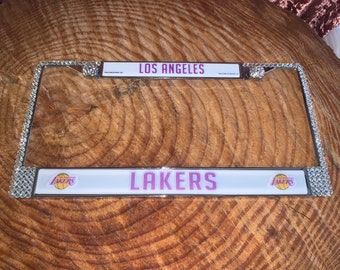 Los Angeles Lakers Sport on Silver Frame Crystal Sparkle Auto Bling Rhinestone License Plate Frame with Swarovski Element made WeCrystalIt