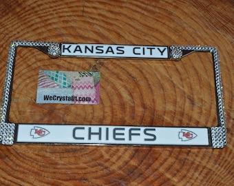 Kansas City kc License Crystal Frame Crystal Sparkle Auto Bling Rhinestone  Plate Frame with Swarovski Elements Made by WeCrystalIt