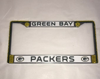 Green Bay Packers License Crystal Sport Silver Frame Sparkle Auto Bling Rhinestone Plate Frame with Swarovski Elements Made by WeCrystalit