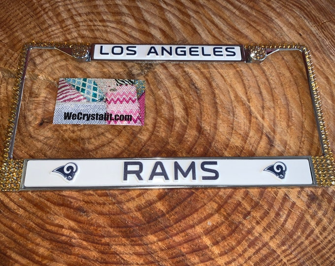 Los Angeles Rams License Crystal Sport on Silver Frame Sparkle Auto Bling Rhinestone Plate Frame with Swarovski Elements Made by WeCrystalIt