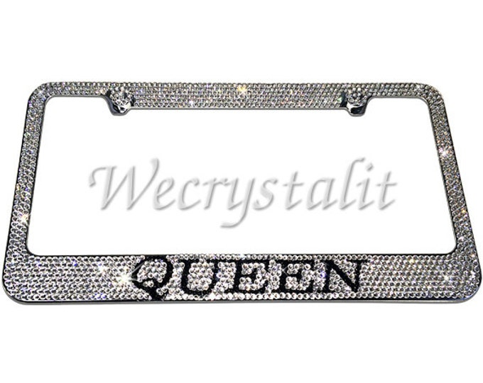 Let everyone know you are the Queen Crystal Sparkle Auto Bling Rhinestone License Plate Frame with Swarovski Elements Made by WeCrystalIt