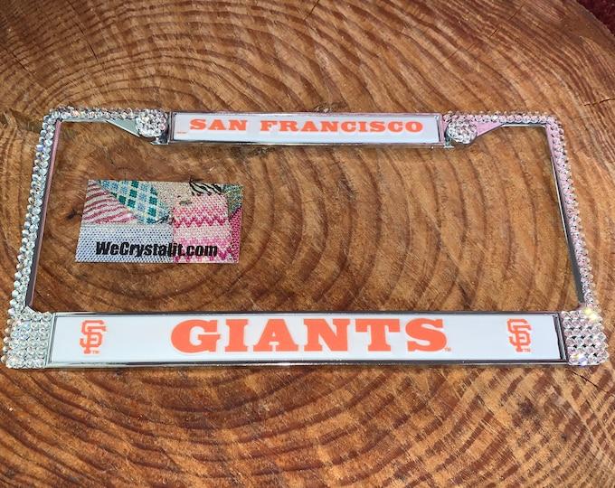 Giants San Francisco License Crystal Sport on Silver Frame Sparkle Auto Bling Rhinestone Plate Frame with Swarovski Elements
