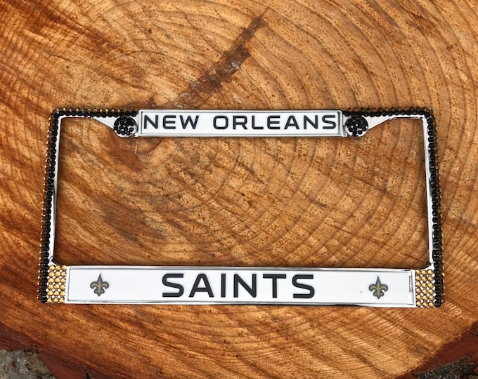 Saints License Gold and Black Crystal New Orleans Football  Frame Sparkle Auto Bling Rhinestone Plate Frame with Swarovski Elements Made by