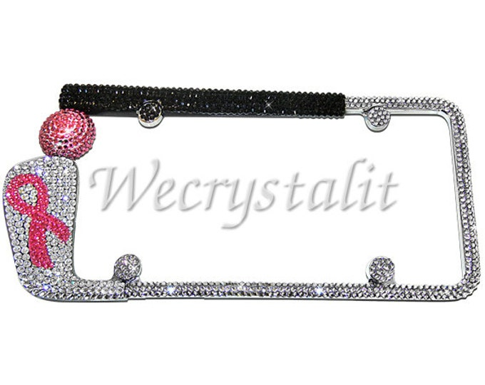 Golf Club Ribbon  Crystal Sparkle Auto Bling Rhinestone License Plate Frame with Swarovski Elements Made by WeCrystalIt