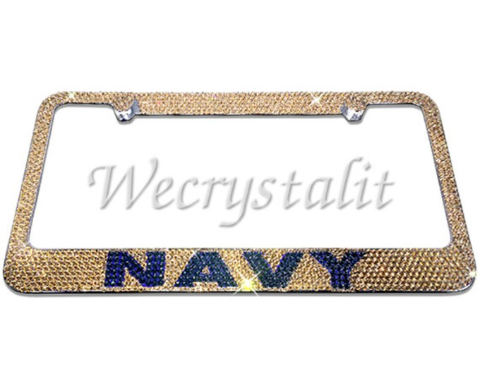 Navy Gold and Navy Blue Crystal Sparkle Auto Bling Rhinestone  License Plate Frame with Swarovski Elements Made by WeCrystalIt