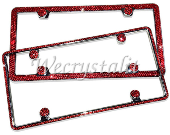 set 2 Red on Sliver  Frame 1 & 3 Row Crystal Sparkle Auto Bling Rhinestone License Plate Frame w Swarovski Elements Made by WeCrystalIt