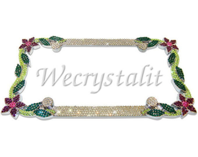 Purple Daisy Flower Crystal Sparkle Auto Bling Rhinestone  License Plate Frame with Swarovski Elements Made by WeCrystalIt
