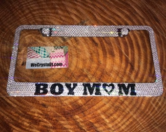 Boy Mom Crystal Sparkle Auto Bling Rhinestone  License Plate Frame with Swarovski Elements Made by WeCrystalIt