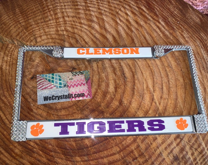 Clemson Tigers License Clear Crystal Sport Football Frame Sparkle Auto Bling Rhinestone Plate Frame with Swarovski Elements Made wecrystalit