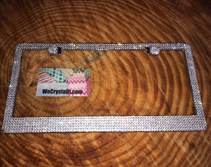 Clear 6 Row Diamond on Silver Frame Crystal Sparkle Auto Bling Rhinestone  License Plate Frame with Swarovski Elements Made by WeCrystalIt